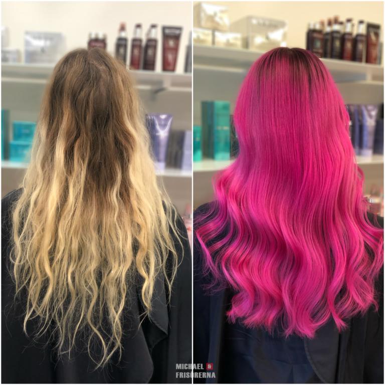 rosa hårfärg olaplex loreal